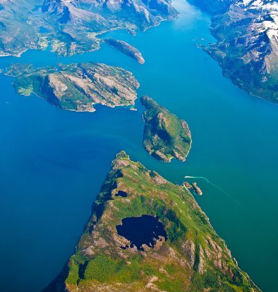 Aerial photo of a Fjord, Norway
